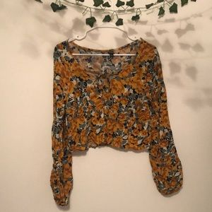 Floral long sleeve cropped shirt!—worn only twice!